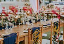 Burgundy & Navy Blue Wedding Decoration by Bali Izatta Wedding Planner & Wedding Florist Decorator