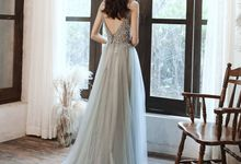 KAYLA Grey Beaded Tulle Wedding Gown by dear gowns