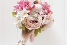 Artificial Wedding Hand bouquet - Pink Peony by raia_fleurs