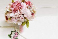 Artificial Wedding Hand bouquet - Pink Peony by raia_fleurs