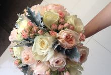 Wedding Bouquet With Imported Flowers and Pastel C by Casa d'Fleur