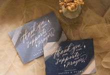 Safina & Putra Thank You Card by Calligraphy By Mercia