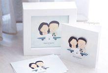 Travel Couple Flat Frame & Greeting card by artbyevelynlim