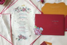 Peranakan handkerchief invitation by Pensée invitation & stationery