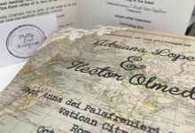 Vintage map on the day stationery by Pretty Lane Weddings