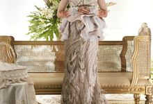 French blue and nude colored henna party dress by Farah Bisyir (Fashion Designer) / BY FAR