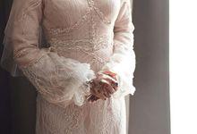 Peach elegant couture work akad dress by Farah Bisyir (Fashion Designer) / BY FAR