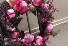 Bridesmaid bouquet, corsage and Floral Crown by Petite Fleur SG