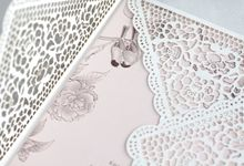 Peonies & Lovely Lace Envelope by Pensée invitation & stationery