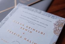 Simple flowery yet modern gold-foiled invite by Tapestry Invitation