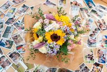 Sunflower proposal bouquet by Liz Florals