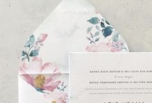 Modern Hand Painted Watercolor Botanical Flower by Pensée invitation & stationery