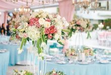 A Celebration Wrapped in Pink and Blue by Flora Botanica Designs