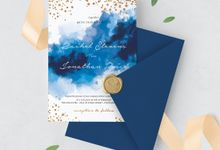 Blue Sparkles Watercolor by Trouvaille Invitation