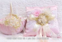 Kairos Pink & Cream flowery lace wedding stationery set by Kairos Wedding Invitation