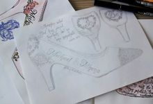 Michael & Athena special handpainted wedding heels by TMP Custom Shoe Studio