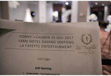The Wedding of Donny & Lauren - 15th July 2017 by La Fayette Entertainment & Organizer