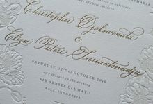 Dusty Blue Flowers by Pensée invitation & stationery