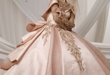 Rose Gold Rustic Leaves Ballgown by O&H Atelier