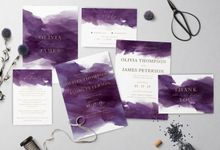 Purple Watercolor by Trouvaille Invitation