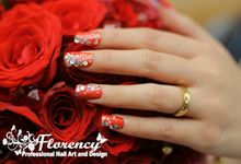 Red Wedding Nails by Florency Nailart