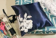 Midnight Blue Wedding Pillows by La Bella