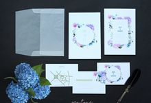 MIA & EDWIN WEDDING INVITES HYDRANGEA by Pentone Craft and Paper