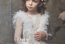 delicate dress in powdery color for flower girls art 3000 by Natali Nosova
