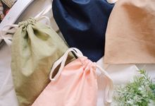 Pouch drawstring Linen & Satin import material by Packy Bag Vintage