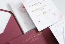 Red gold simple single panel invitation for James & Melody by Tapestry Invitation