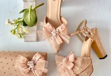 Nude Matching Set: Party shoes & Clutches by Aveda Footwear