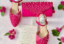 Colourful Matching Set: Party shoes & Clutches by Aveda Footwear