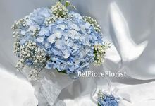 Blue Hydrangea Wedding Flower by Belfiore Florist