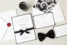 """Black & White + Sexy in Red"" Charles ♥ Jane by Pensée invitation & stationery"