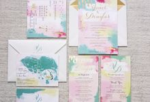 Vivid watercolour and gold by Spinsugar Stationery