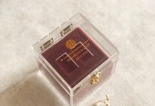 fine gold box with double happiness logo by Box & Vow