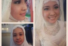 Make Up & Hijab for Pre Wedding Photoshoot by Marsia Yulia Signature. Natural and Korean Make Up Specialist.
