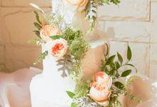 Three Tiered Sweet Garden Wedding Cake by KAIA Cakes & Co.