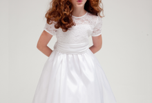 Sleeve Satin Flower Girl Dress Purple and White by Black N Bianco