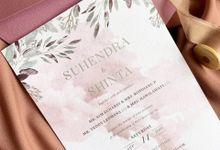 Modern Dusty Pink Botanical by Trouvaille Invitation