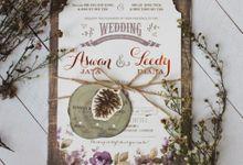 Aswan & Leedy Rustic Lilac Invitation by Bluebelle Invitations