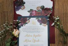 Anton & Melisa -  Classic Navy and Maroon Wedding Invitation by Bluebelle Invitations