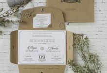 Ahui & Sheeta Vintage Wedding Invitation by Bluebelle Invitations