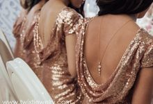 Rose gold backdrop necklace by Twixt Designs