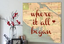 Vintage Map Customized with Places City Art Geographical Location 24X24 Canvas by Geezees Custom Canvas