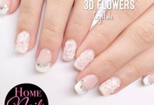 Ribbon and Flowers Bridal Nails by Home Nails