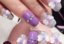 Bling and petals Bridal Nail Art by Home Nails