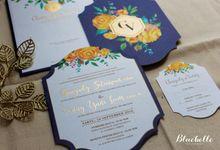 Charyady & Venny - Blue & Yellow Wedding Invitation by Bluebelle Invitations