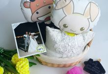 Fashionable Rabbit & Ox Anniversary Pillow by Fashion Pillow Weds