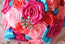Mexicana Red Pink Fuchsia Blue Bridal Brooch Bouquet by Marini Bouquets
